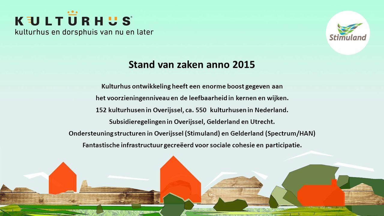 Stand van zaken anno 2015 Kulturhus ontwikkeling heeft een enorme boost gegeven aan het voorzieningenniveau en de leefbaarheid in kernen en wijken.