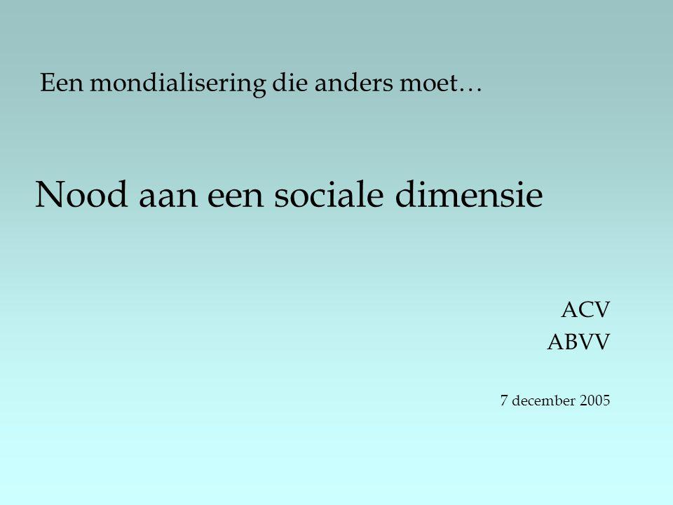 Een mondialisering die anders moet… Nood aan een sociale dimensie ACV ABVV 7 december 2005