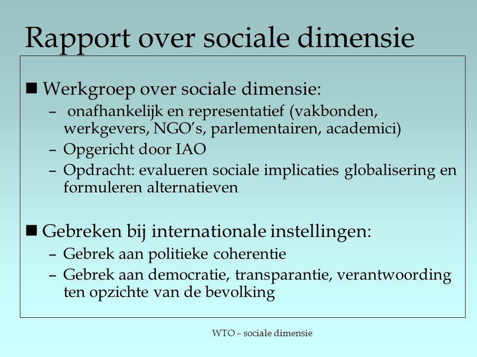 WTO – sociale dimensie Rapport over sociale dimensie Werkgroep over sociale dimensie: – onafhankelijk en representatief (vakbonden, werkgevers, NGO's,