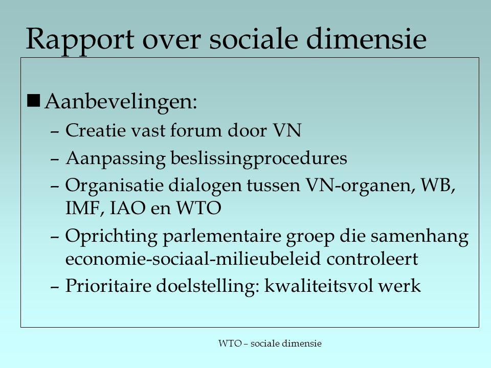 WTO – sociale dimensie Rapport over sociale dimensie Aanbevelingen: –Creatie vast forum door VN –Aanpassing beslissingprocedures –Organisatie dialogen