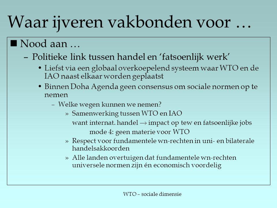 WTO – sociale dimensie Waar ijveren vakbonden voor … Nood aan … –Politieke link tussen handel en 'fatsoenlijk werk' Liefst via een globaal overkoepelend systeem waar WTO en de IAO naast elkaar worden geplaatst Binnen Doha Agenda geen consensus om sociale normen op te nemen –Welke wegen kunnen we nemen.