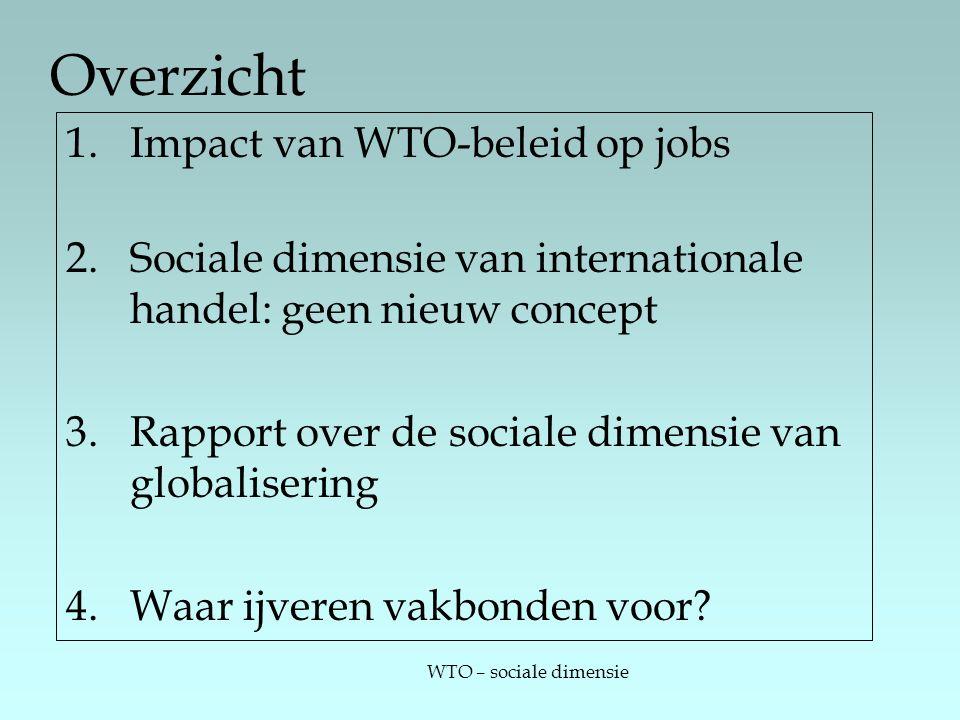 WTO – sociale dimensie Overzicht 1.Impact van WTO-beleid op jobs 2.Sociale dimensie van internationale handel: geen nieuw concept 3.Rapport over de sociale dimensie van globalisering 4.Waar ijveren vakbonden voor