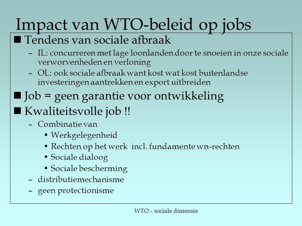 WTO – sociale dimensie Impact van WTO-beleid op jobs Tendens van sociale afbraak –IL: concurreren met lage loonlanden door te snoeien in onze sociale verworvenheden en verloning –OL: ook sociale afbraak want kost wat kost buitenlandse investeringen aantrekken en export uitbreiden Job = geen garantie voor ontwikkeling Kwaliteitsvolle job !.