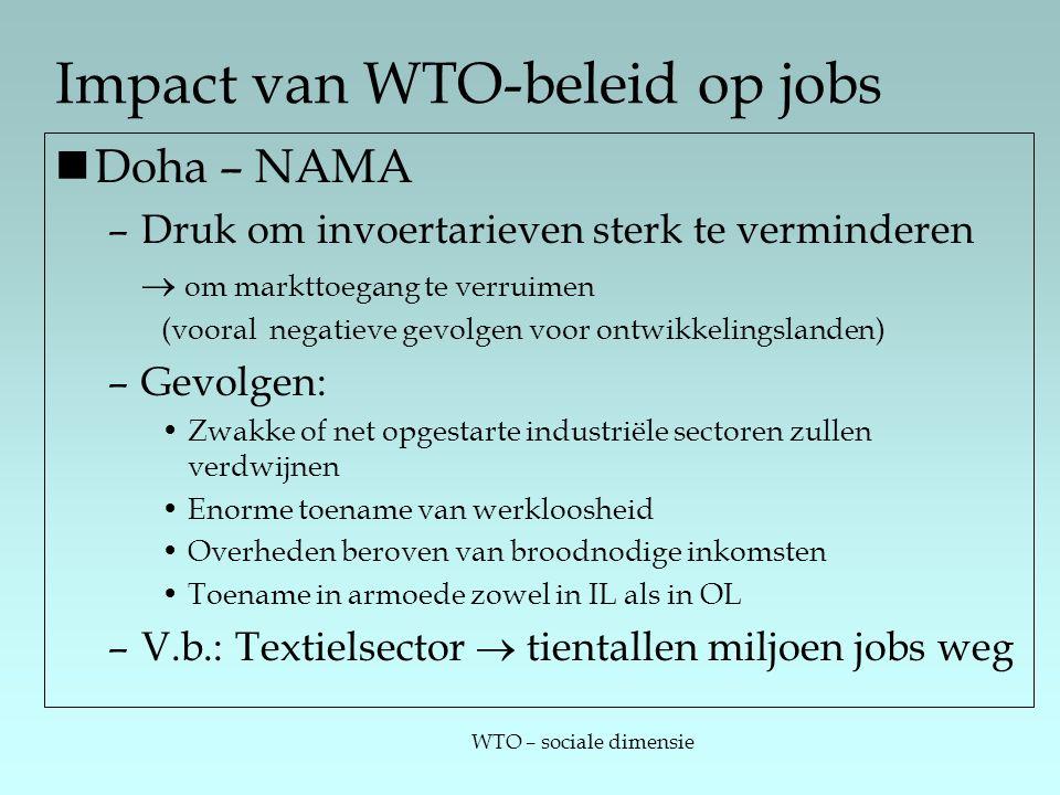 WTO – sociale dimensie Impact van WTO-beleid op jobs Doha – NAMA –Druk om invoertarieven sterk te verminderen  om markttoegang te verruimen (vooral negatieve gevolgen voor ontwikkelingslanden) –Gevolgen: Zwakke of net opgestarte industriële sectoren zullen verdwijnen Enorme toename van werkloosheid Overheden beroven van broodnodige inkomsten Toename in armoede zowel in IL als in OL –V.b.: Textielsector  tientallen miljoen jobs weg