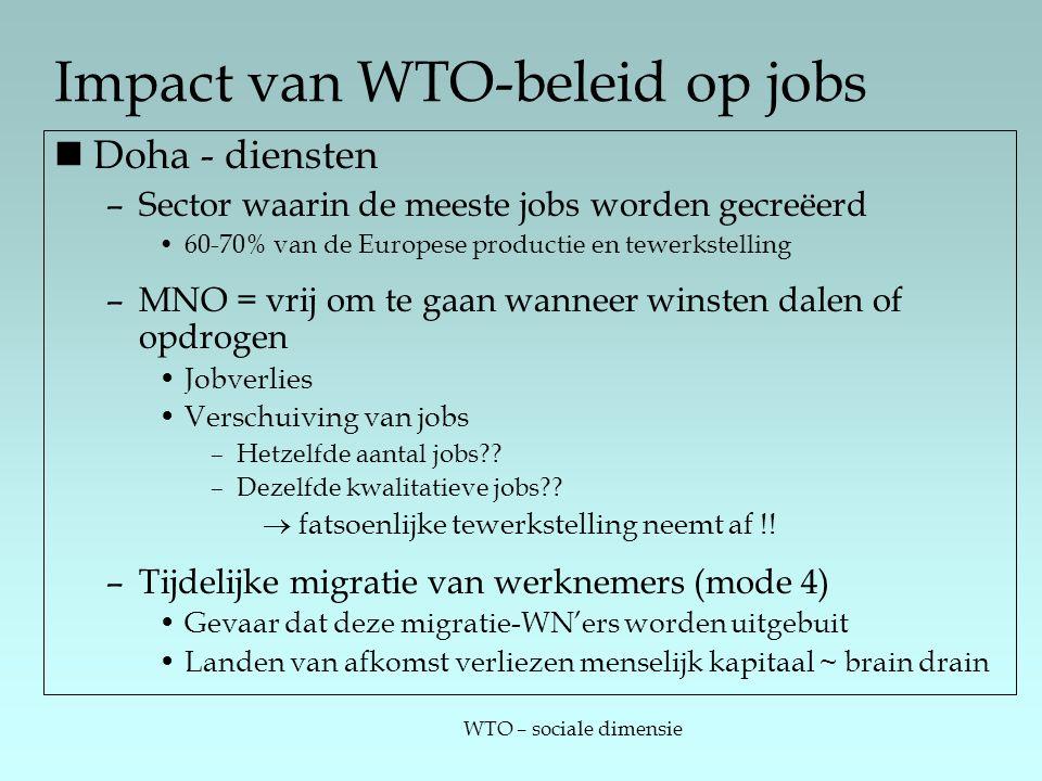WTO – sociale dimensie Impact van WTO-beleid op jobs Doha - diensten –Sector waarin de meeste jobs worden gecreëerd 60-70% van de Europese productie en tewerkstelling –MNO = vrij om te gaan wanneer winsten dalen of opdrogen Jobverlies Verschuiving van jobs –Hetzelfde aantal jobs .