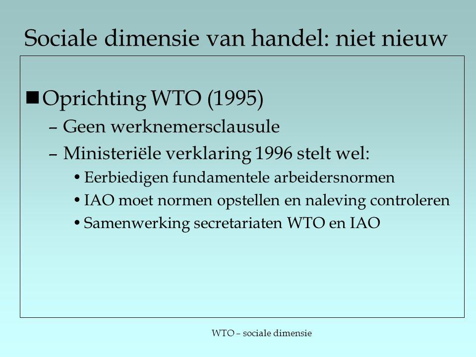 WTO – sociale dimensie Sociale dimensie van handel: niet nieuw Oprichting WTO (1995) –Geen werknemersclausule –Ministeriële verklaring 1996 stelt wel: Eerbiedigen fundamentele arbeidersnormen IAO moet normen opstellen en naleving controleren Samenwerking secretariaten WTO en IAO