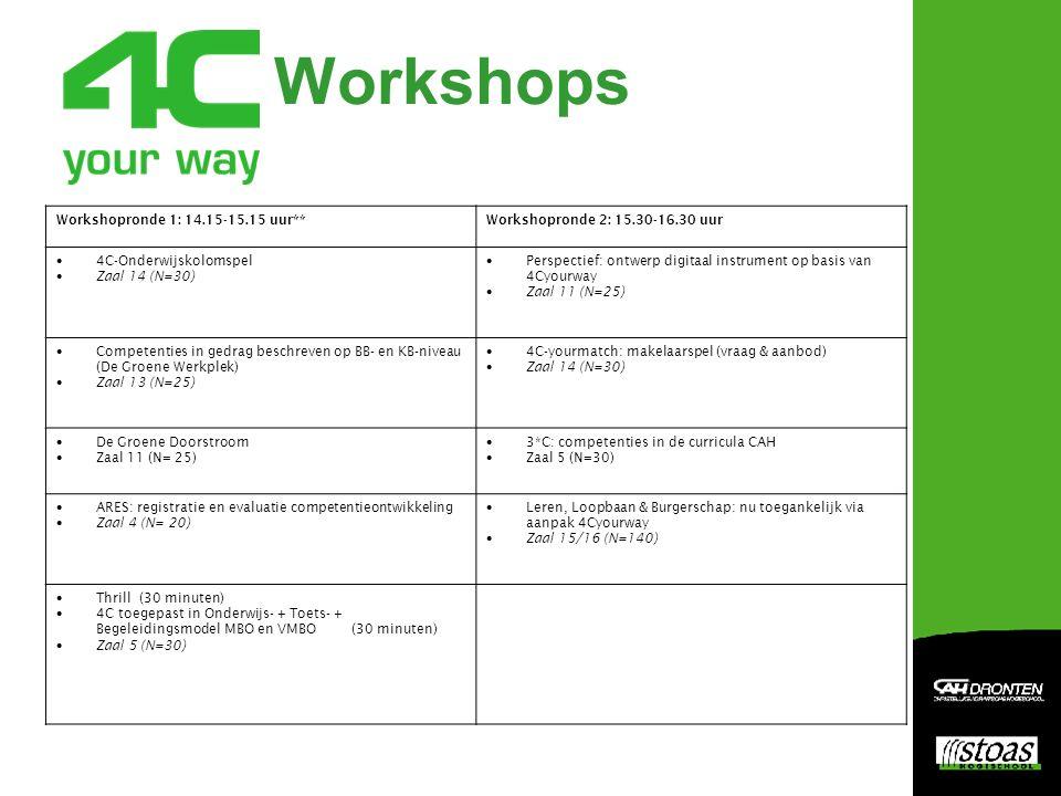 Workshops Workshopronde 1: 14.15-15.15 uur**Workshopronde 2: 15.30-16.30 uur  4C-Onderwijskolomspel  Zaal 14 (N=30)  Perspectief: ontwerp digitaal instrument op basis van 4Cyourway  Zaal 11 (N=25)  Competenties in gedrag beschreven op BB- en KB-niveau (De Groene Werkplek)  Zaal 13 (N=25)  4C-yourmatch: makelaarspel (vraag & aanbod)  Zaal 14 (N=30)  De Groene Doorstroom  Zaal 11 (N= 25)  3*C: competenties in de curricula CAH  Zaal 5 (N=30)  ARES: registratie en evaluatie competentieontwikkeling  Zaal 4 (N= 20)  Leren, Loopbaan & Burgerschap: nu toegankelijk via aanpak 4Cyourway  Zaal 15/16 (N=140)  Thrill (30 minuten)  4C toegepast in Onderwijs- + Toets- + Begeleidingsmodel MBO en VMBO (30 minuten)  Zaal 5 (N=30)