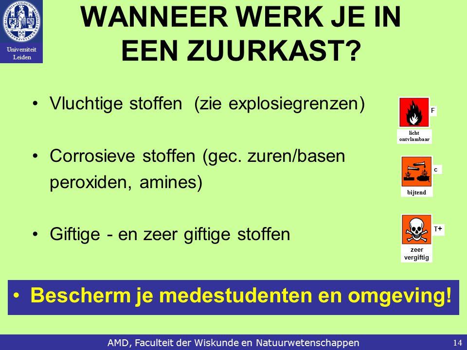 Universiteit Leiden AMD, Faculteit der Wiskunde en Natuurwetenschappen14 WANNEER WERK JE IN EEN ZUURKAST.