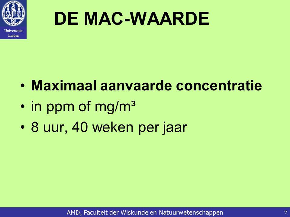 Universiteit Leiden AMD, Faculteit der Wiskunde en Natuurwetenschappen7 DE MAC-WAARDE Maximaal aanvaarde concentratie in ppm of mg/m³ 8 uur, 40 weken per jaar