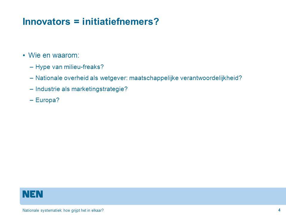 Innovators = initiatiefnemers. Wie en waarom: –Hype van milieu-freaks.