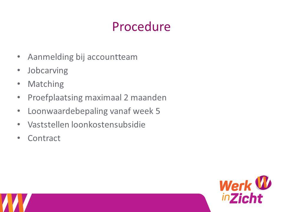 Procedure Aanmelding bij accountteam Jobcarving Matching Proefplaatsing maximaal 2 maanden Loonwaardebepaling vanaf week 5 Vaststellen loonkostensubsidie Contract