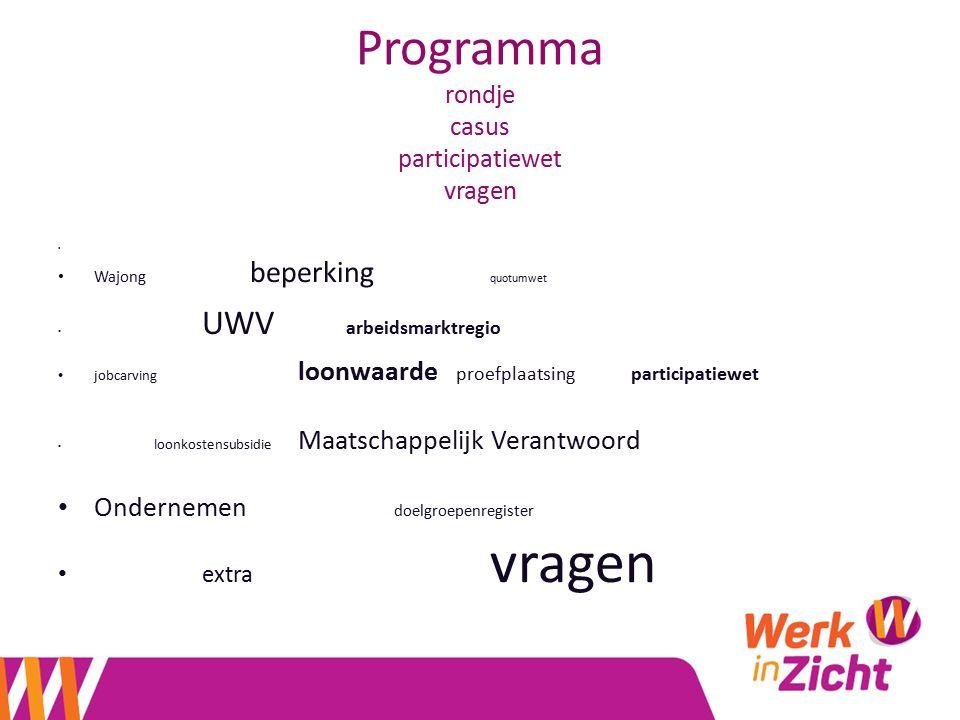 Programma rondje casus participatiewet vragen Wajong beperking quotumwet UWV arbeidsmarktregio jobcarving loonwaarde proefplaatsing participatiewet lo