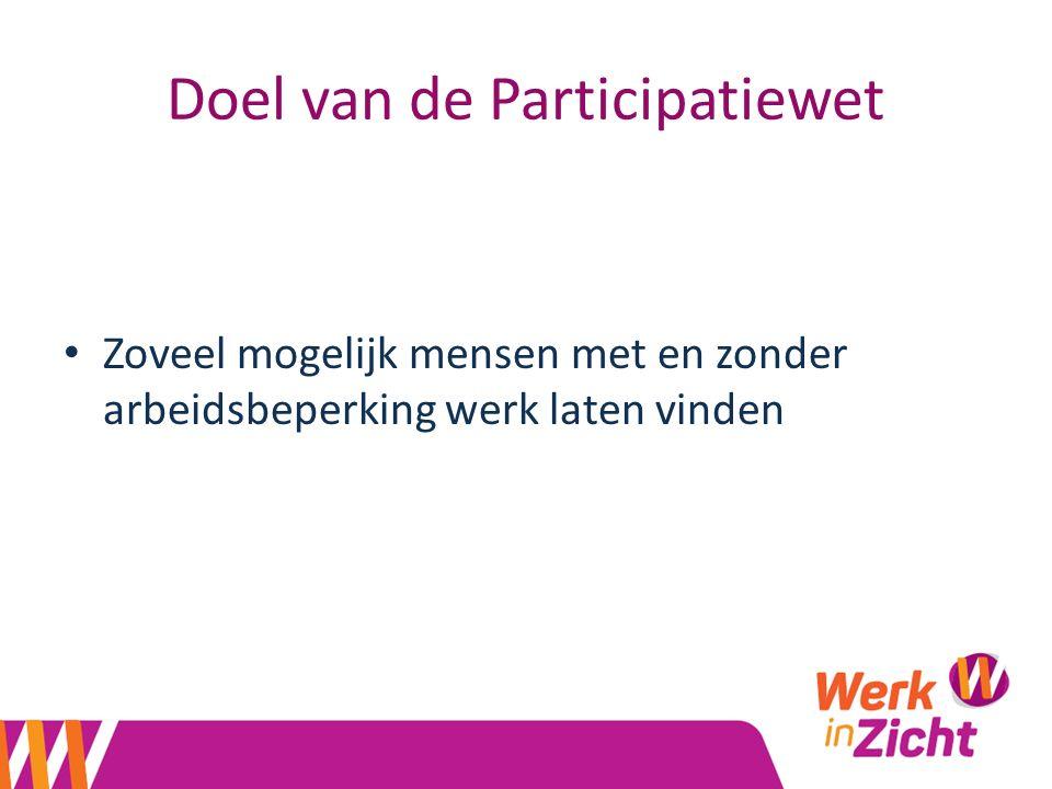 Doel van de Participatiewet Zoveel mogelijk mensen met en zonder arbeidsbeperking werk laten vinden