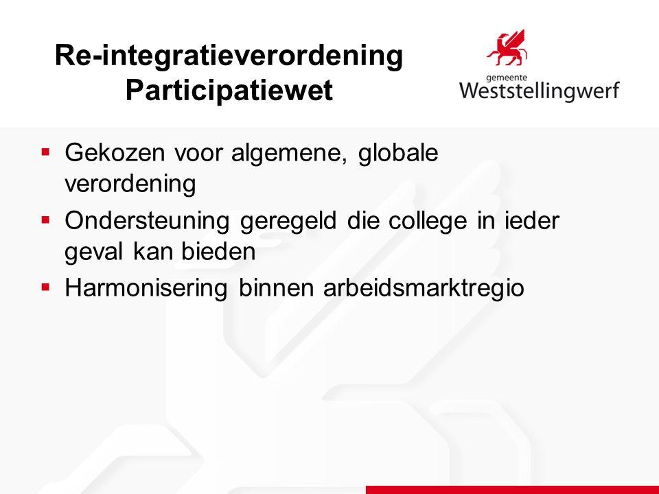 Re-integratieverordening Participatiewet  Gekozen voor algemene, globale verordening  Ondersteuning geregeld die college in ieder geval kan bieden  Harmonisering binnen arbeidsmarktregio