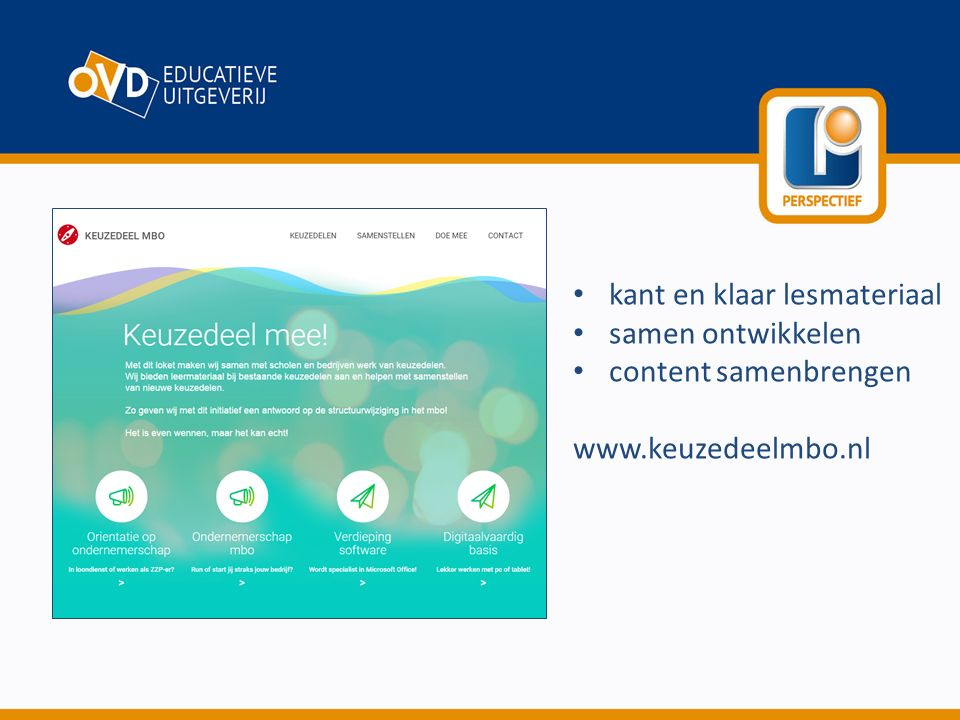 kant en klaar lesmateriaal samen ontwikkelen content samenbrengen www.keuzedeelmbo.nl