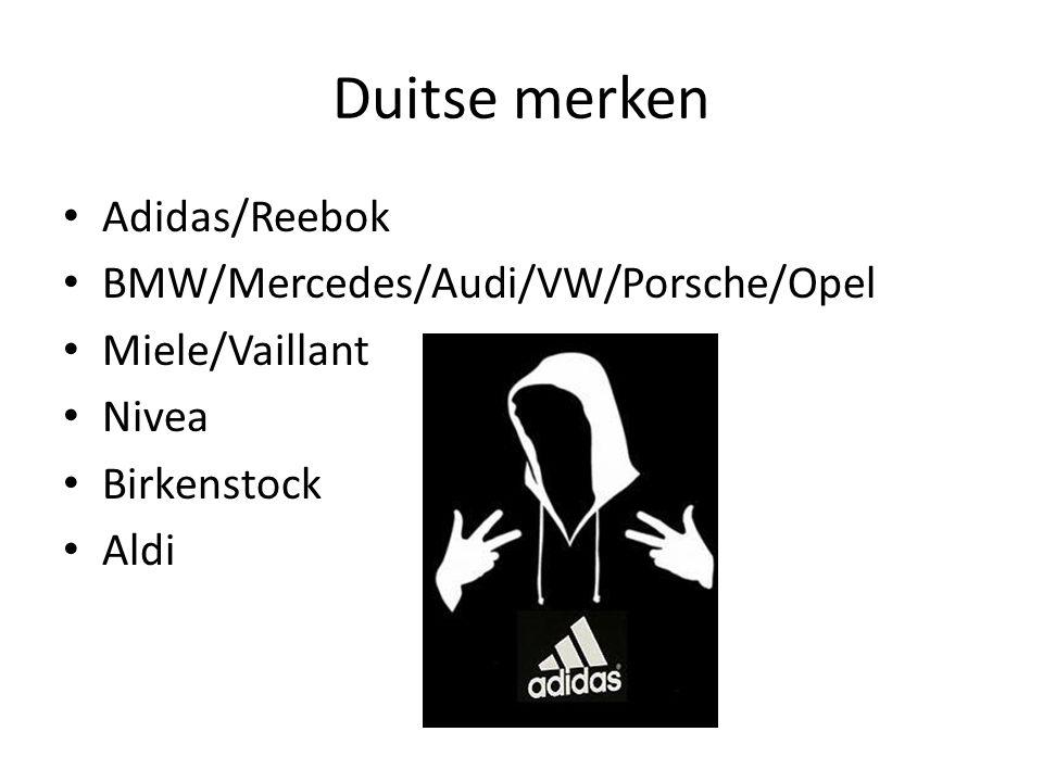 Duitse merken Adidas/Reebok BMW/Mercedes/Audi/VW/Porsche/Opel Miele/Vaillant Nivea Birkenstock Aldi