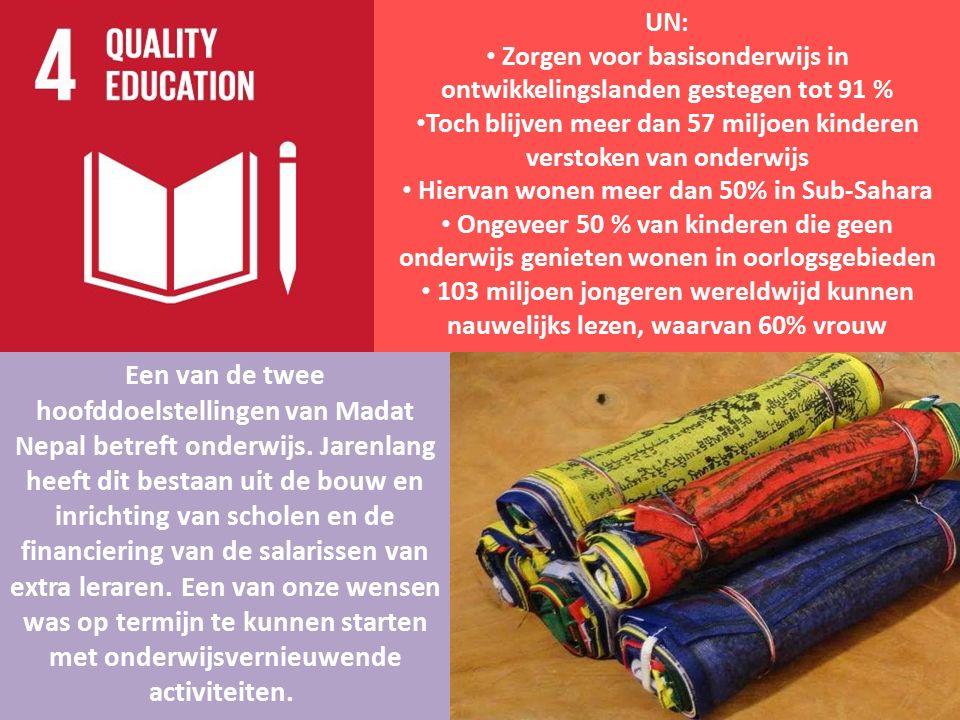 UN: Zorgen voor basisonderwijs in ontwikkelingslanden gestegen tot 91 % Toch blijven meer dan 57 miljoen kinderen verstoken van onderwijs Hiervan wone