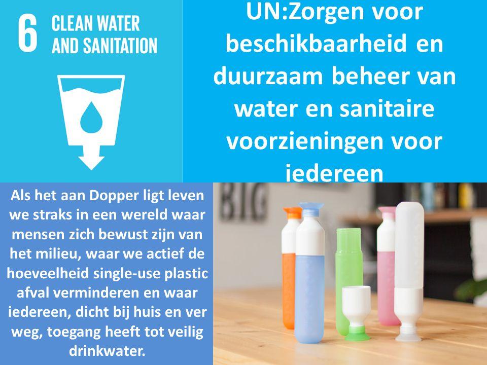 UN:Zorgen voor beschikbaarheid en duurzaam beheer van water en sanitaire voorzieningen voor iedereen Als het aan Dopper ligt leven we straks in een wereld waar mensen zich bewust zijn van het milieu, waar we actief de hoeveelheid single-use plastic afval verminderen en waar iedereen, dicht bij huis en ver weg, toegang heeft tot veilig drinkwater.