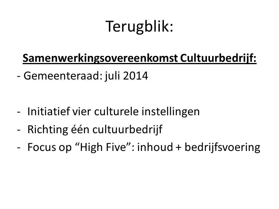 Terugblik: Samenwerkingsovereenkomst Cultuurbedrijf: - Gemeenteraad: juli 2014 -Initiatief vier culturele instellingen -Richting één cultuurbedrijf -Focus op High Five : inhoud + bedrijfsvoering