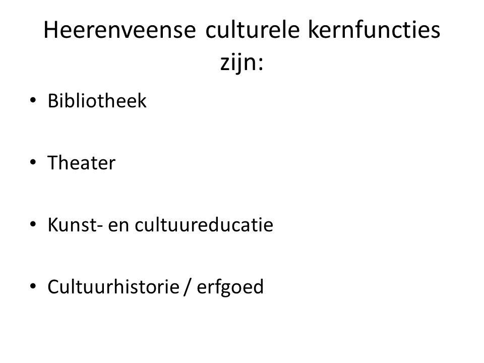 Heerenveense culturele kernfuncties zijn: Bibliotheek Theater Kunst- en cultuureducatie Cultuurhistorie / erfgoed