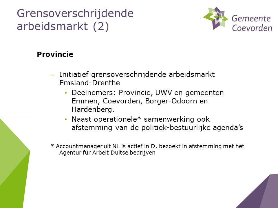 Provincie – Initiatief grensoverschrijdende arbeidsmarkt Emsland-Drenthe Deelnemers: Provincie, UWV en gemeenten Emmen, Coevorden, Borger-Odoorn en Hardenberg.
