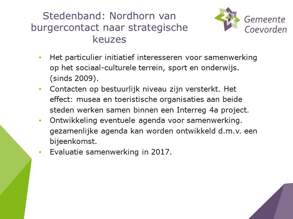 Stedenband: Nordhorn van burgercontact naar strategische keuzes Het particulier initiatief interesseren voor samenwerking op het sociaal-culturele terrein, sport en onderwijs.
