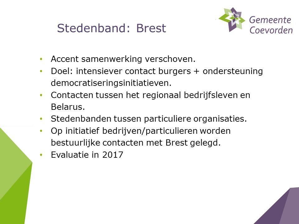 Stedenband: Brest Accent samenwerking verschoven.