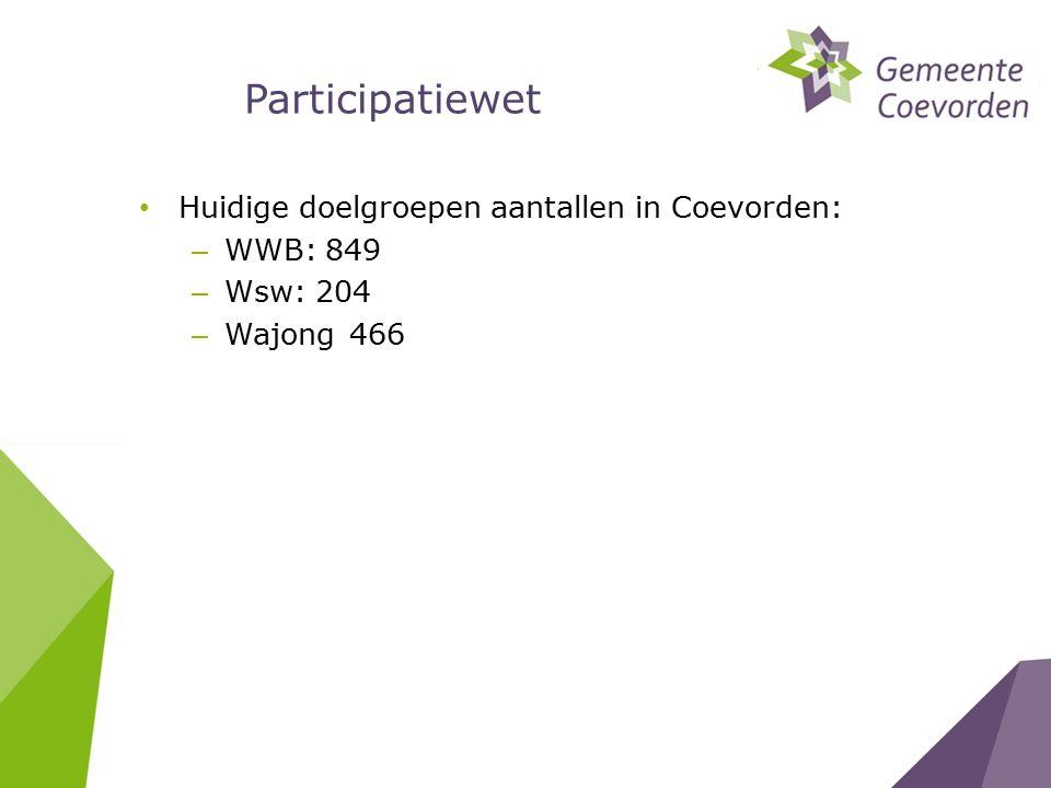 Participatiewet Huidige doelgroepen aantallen in Coevorden: – WWB: 849 – Wsw: 204 – Wajong466