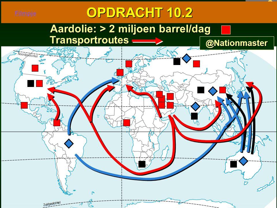85 10.1 Wereldkaart van de industrie 10.1 Wereldkaart van de industrie OPDRACHT 10.2 Aardolie: > 2 miljoen barrel/dag Aardolie: > 2 miljoen barrel/dag Transportroutes @Nationmaster Filmpje