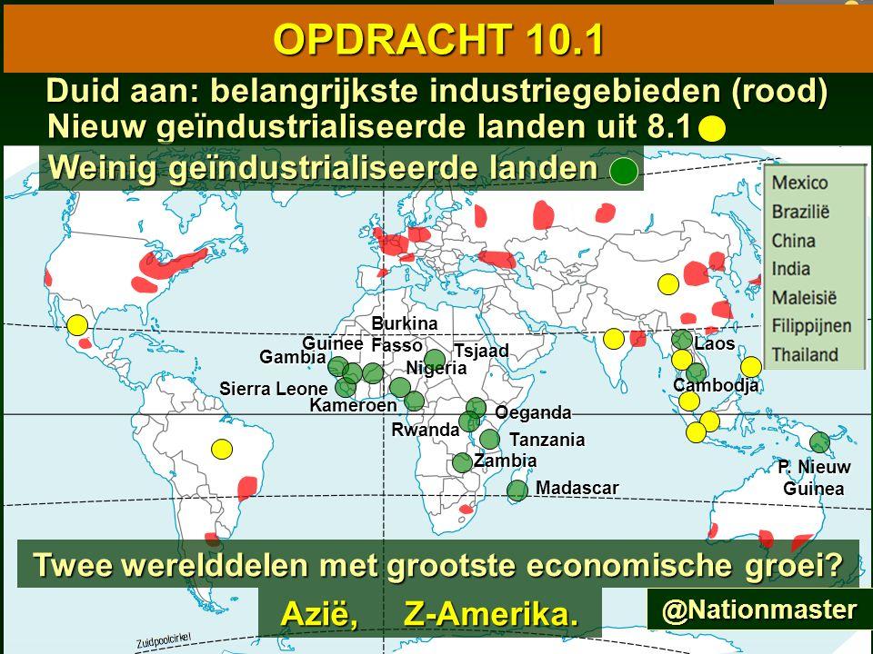 85 10.1 Wereldkaart van de industrie 10.1 Wereldkaart van de industrie OPDRACHT 10.1 Duid aan: belangrijkste industriegebieden (rood) Nieuw geïndustrialiseerde landen uit 8.1 Weinig geïndustrialiseerde landen Kameroen Oeganda Nigeria Sierra Leone Gambia Guinee Zambia Tanzania P.