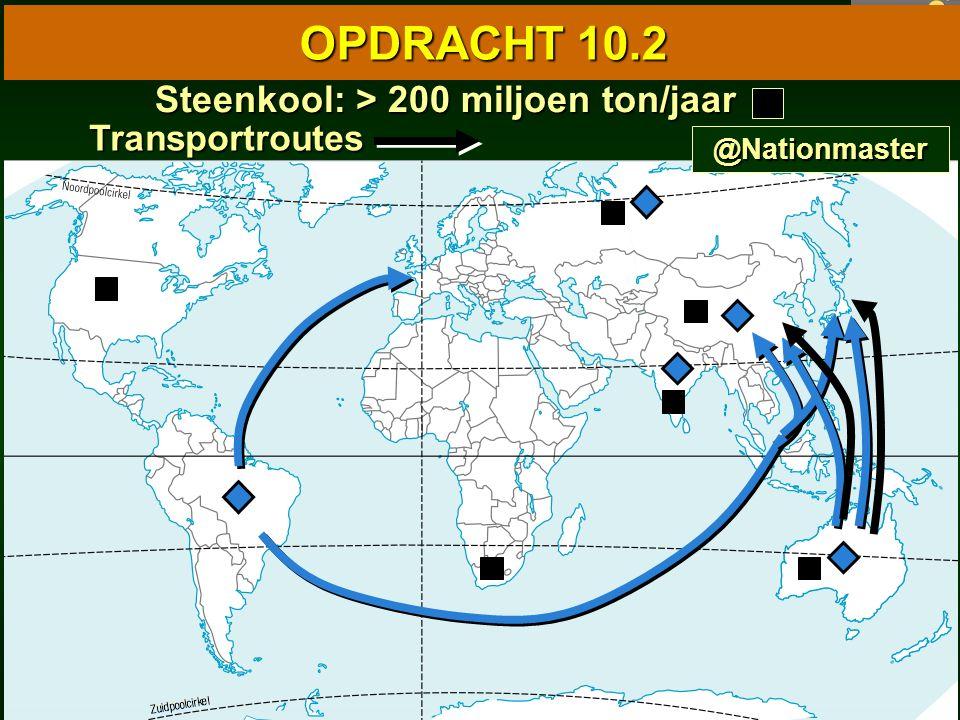 85 10.1 Wereldkaart van de industrie 10.1 Wereldkaart van de industrie OPDRACHT 10.2 Steenkool: > 200 miljoen ton/jaar Steenkool: > 200 miljoen ton/jaar Transportroutes @Nationmaster