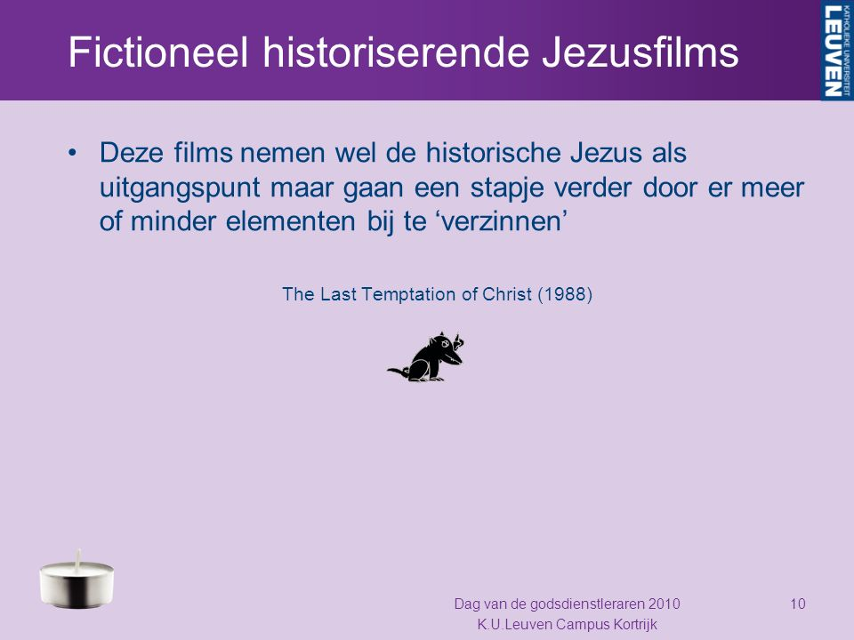 Fictioneel historiserende Jezusfilms Deze films nemen wel de historische Jezus als uitgangspunt maar gaan een stapje verder door er meer of minder ele