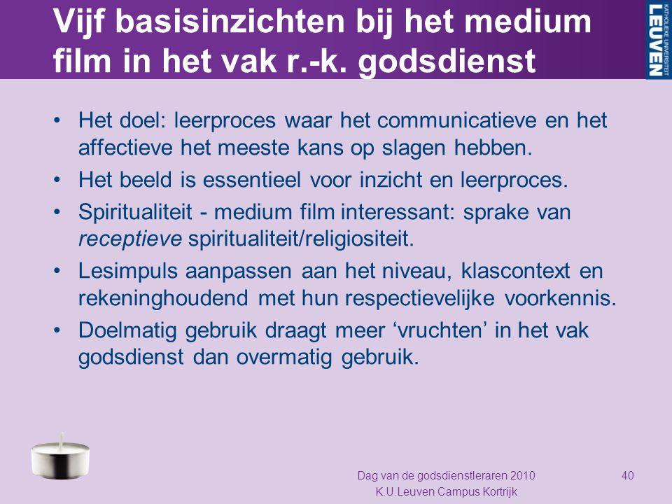 Vijf basisinzichten bij het medium film in het vak r.-k. godsdienst Het doel: leerproces waar het communicatieve en het affectieve het meeste kans op