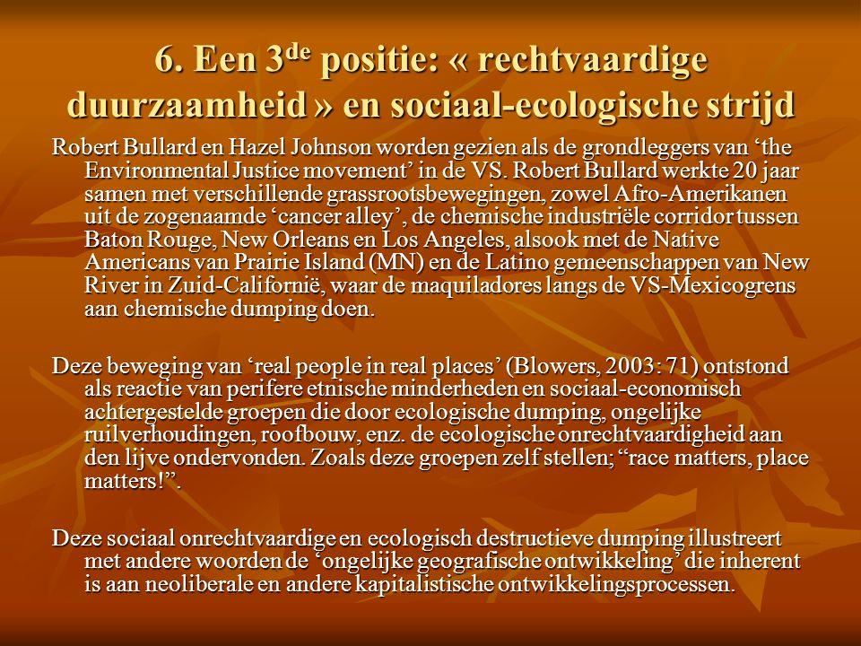 6. Een 3 de positie: « rechtvaardige duurzaamheid » en sociaal-ecologische strijd Robert Bullard en Hazel Johnson worden gezien als de grondleggers va