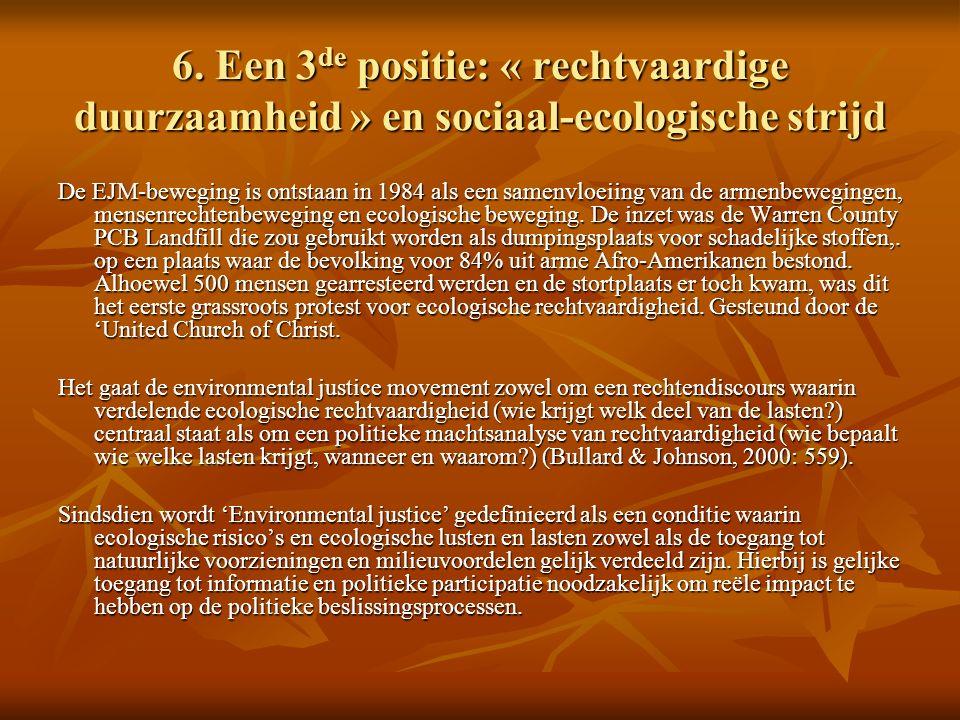6. Een 3 de positie: « rechtvaardige duurzaamheid » en sociaal-ecologische strijd De EJM-beweging is ontstaan in 1984 als een samenvloeiing van de arm