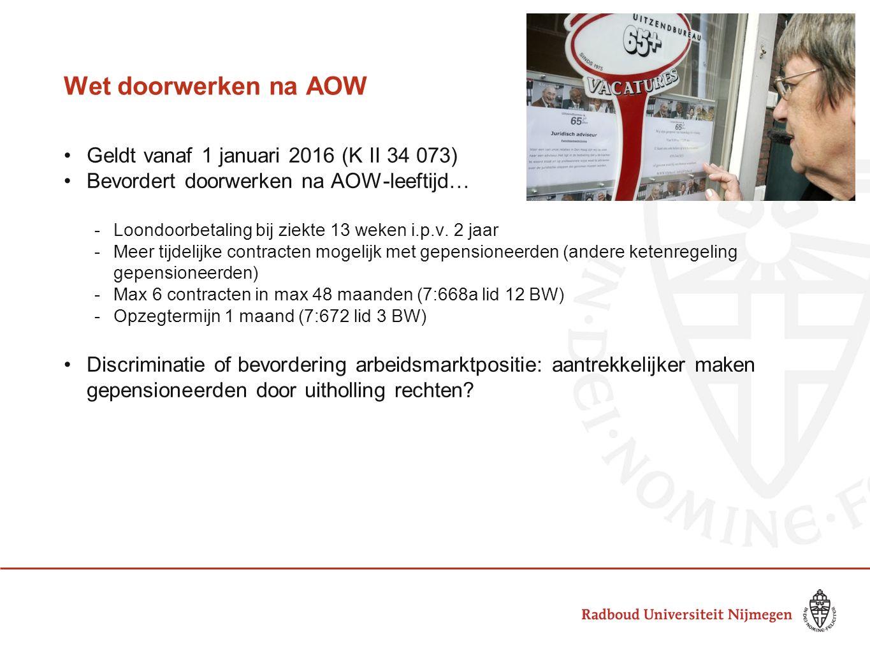 Wet doorwerken na AOW Geldt vanaf 1 januari 2016 (K II 34 073) Bevordert doorwerken na AOW-leeftijd… -Loondoorbetaling bij ziekte 13 weken i.p.v.