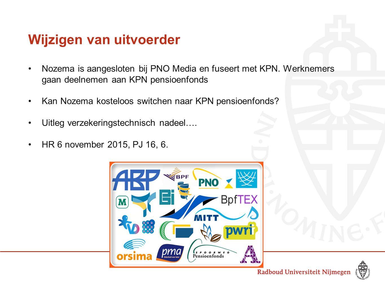 Wijzigen van uitvoerder Nozema is aangesloten bij PNO Media en fuseert met KPN. Werknemers gaan deelnemen aan KPN pensioenfonds Kan Nozema kosteloos s