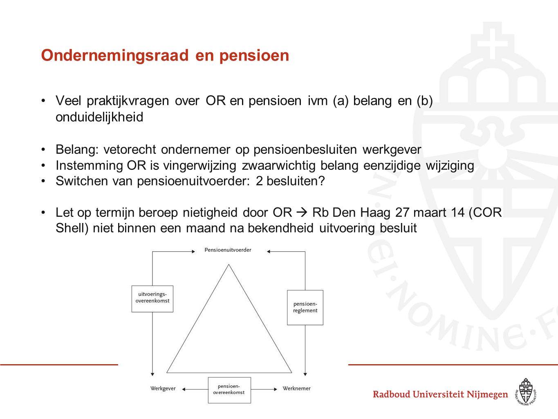 Ondernemingsraad en pensioen Veel praktijkvragen over OR en pensioen ivm (a) belang en (b) onduidelijkheid Belang: vetorecht ondernemer op pensioenbes