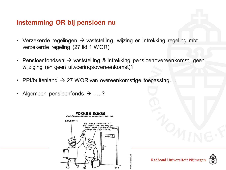 Instemming OR bij pensioen nu Verzekerde regelingen  vaststelling, wijzing en intrekking regeling mbt verzekerde regeling (27 lid 1 WOR) Pensioenfondsen  vaststelling & intrekking pensioenovereenkomst, geen wijziging (en geen uitvoeringsovereenkomst).