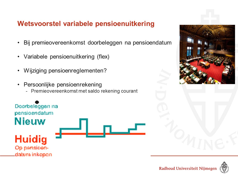 Wetsvoorstel variabele pensioenuitkering Bij premieovereenkomst doorbeleggen na pensioendatum Variabele pensioenuitkering (flex) Wijziging pensioenreg