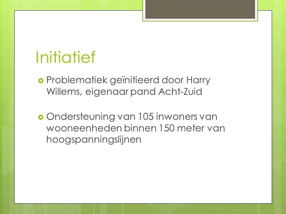 Initiatief  Problematiek geïnitieerd door Harry Willems, eigenaar pand Acht-Zuid  Ondersteuning van 105 inwoners van wooneenheden binnen 150 meter van hoogspanningslijnen