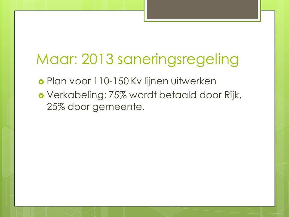 Maar: 2013 saneringsregeling  Plan voor 110-150 Kv lijnen uitwerken  Verkabeling: 75% wordt betaald door Rijk, 25% door gemeente.