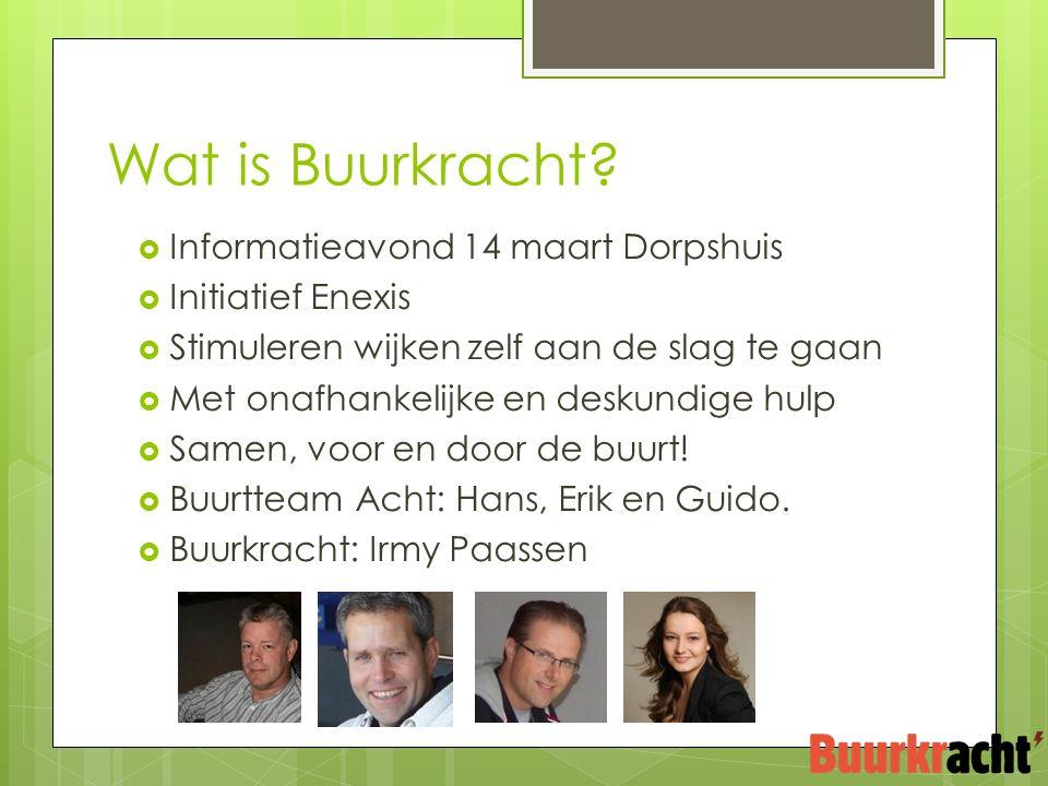  Informatieavond 14 maart Dorpshuis  Initiatief Enexis  Stimuleren wijken zelf aan de slag te gaan  Met onafhankelijke en deskundige hulp  Samen, voor en door de buurt.