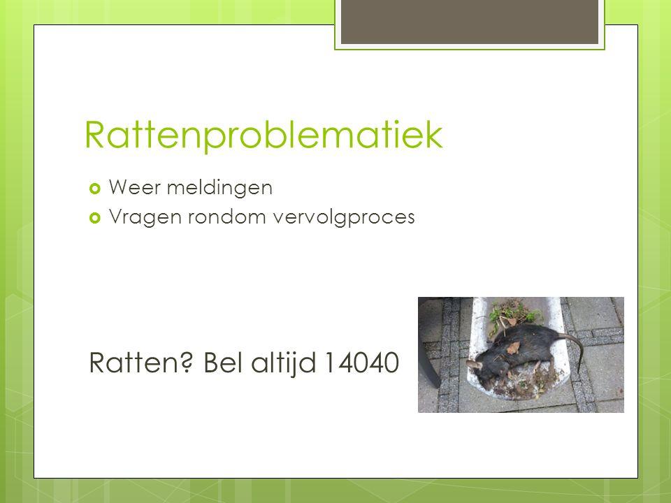 Rattenproblematiek  Weer meldingen  Vragen rondom vervolgproces Ratten? Bel altijd 14040
