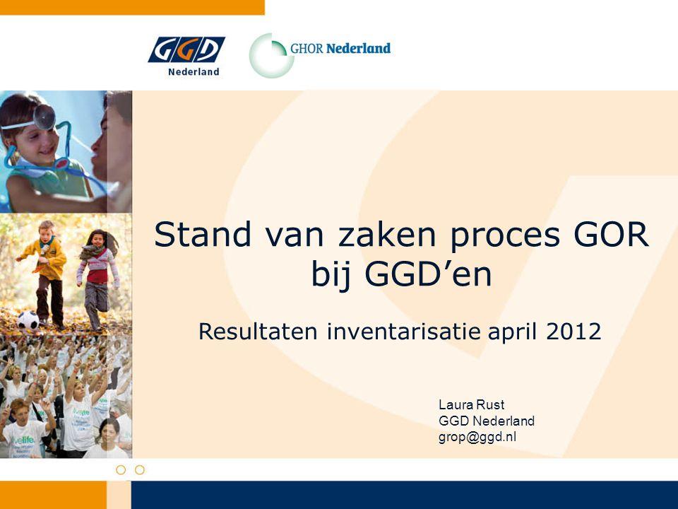 Stand van zaken proces GOR bij GGD'en Resultaten inventarisatie april 2012 Laura Rust GGD Nederland grop@ggd.nl