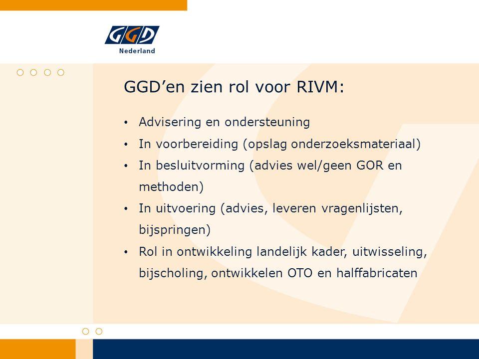 GGD'en zien rol voor RIVM: Advisering en ondersteuning In voorbereiding (opslag onderzoeksmateriaal) In besluitvorming (advies wel/geen GOR en methoden) In uitvoering (advies, leveren vragenlijsten, bijspringen) Rol in ontwikkeling landelijk kader, uitwisseling, bijscholing, ontwikkelen OTO en halffabricaten