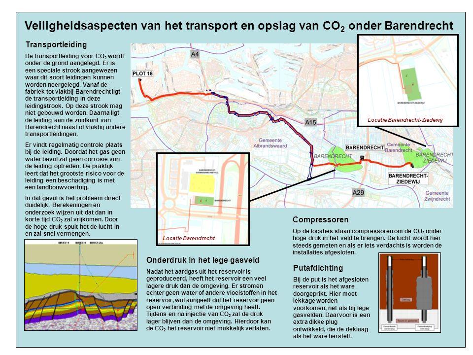 Veiligheidsaspecten van het transport en opslag van CO 2 onder Barendrecht Transportleiding De transportleiding voor CO 2 wordt onder de grond aangelegd.