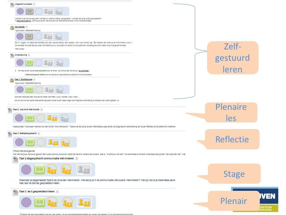 Plenaire les Zelf- gestuurd leren Reflectie Plenair Stage