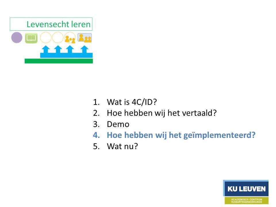 1.Wat is 4C/ID. 2.Hoe hebben wij het vertaald. 3.Demo 4.Hoe hebben wij het geïmplementeerd.