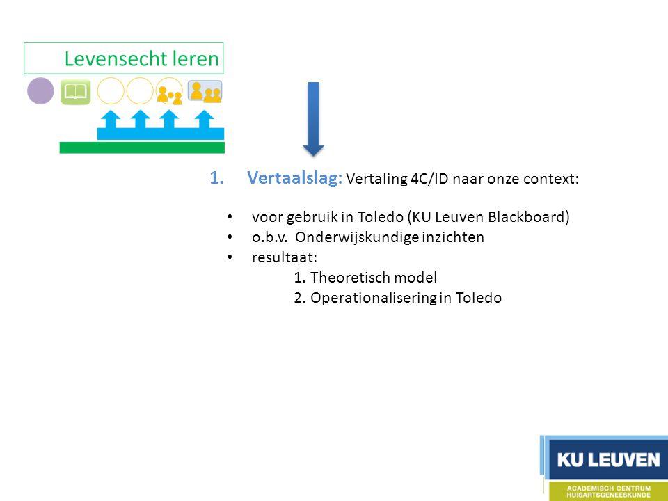 1.Vertaalslag: Vertaling 4C/ID naar onze context: 2.Ontwikkelen ondersteunend materiaal 3.Ontwikkelen 2 piloottrajecten 4.Testfase + optimalisatie 5.Evaluatie 6.Communicatie voor gebruik in Toledo (KU Leuven Blackboard) o.b.v.